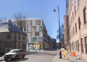Konkursa projekts ēkai Krāsotāju un Lienes ielas stūrī, 2017. gads, 1. vieta