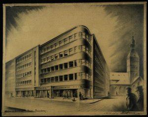Pāvils Tums (1904–1989). Bankas un biroju nams Rīgā. 1939