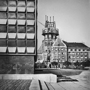 Laimonis Stīpnieks. Sv. Pētera baznīcas torņa rekonstrukcija. Ap 1970. gadu