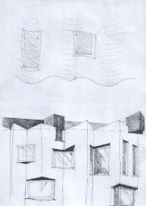 Fasādes detaļas skice un pasūtītāja ierosinājums
