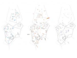 Telpu apdzīvošana (inhabitation), no kreisās: lietus sezonā; sausajā sezonā; naktī. Attēls: [applied] Foreign Affairs