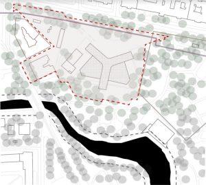 Aplūkojamā teritorija — Elizabetes ielas 2 un Kronvalda bulvāra 6 gruntsgabali. Fragments no RTU studentu prezentācijas